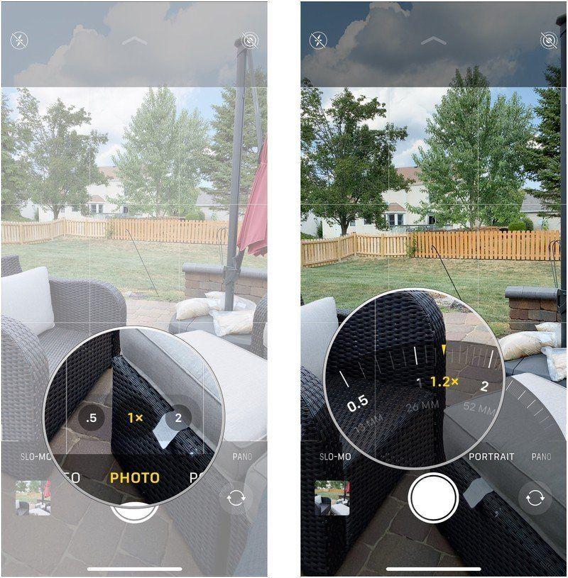 Нажмите и удерживайте селектор камеры, перетащите диск зума