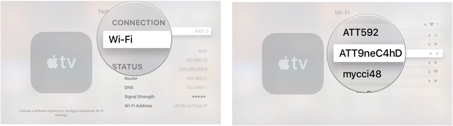 Выбор Wi-Fi на Apple TV
